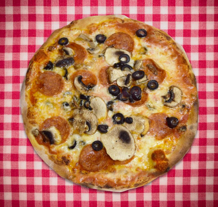 Pepperoni, Black olives and Mushrooms